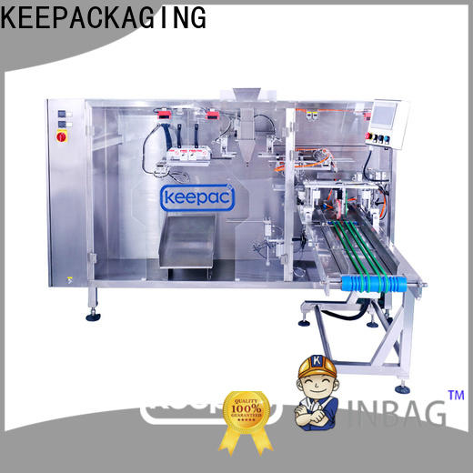 Keepac straight flow design plastic pouch packing machine Supply for 3 sides sealed pouch